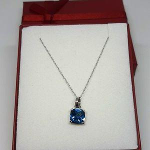 Soild 14k WG, Natural London Blue Topaz Necklace